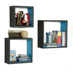 Trista - [Ethereal Beauty] Square Leather Wall Shelf / Bookshelf / Floating Shelf (Set of 3) by Trista Wall Shelf. $89.89. Display souvenirs, photos, CDs, awards, books, decorative items and more.. Adds a rich upscale look to any room, updates your home decor with the stylish & convenient shelves.. Maximum weight capacity: 10 lbs for each shelf on solid wall. Wipe clean with a dry cloth.. Creates stunning storage solution while saving space.. Top faux leather covering...