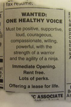 create a wanted ad when you evict the negative voice (who has been living rent-free). **Johanna S. Newspaper Funnies, Compassion, The Voice, Positivity, Create, Quotes, Life, Quotations, Qoutes