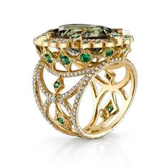 Csarite Empress Ring (yes it is rather imperious) in 18K yellow gold, csarite, tsavorite garnet, and diamond.