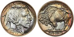 1913 Buffalo Nickel Type 2 PCGS PR68 CAC sold for $58,750 at the Legend Rare Coin Auctions Regency Auction XIX in Las Vegas, Nevada, December 15, 2016...One of the many highlights of this important sale was a set of Buffalo Nickels; many finest knowns and some with spectacular color. Nearly every coin in this set brought a substantial premium above the NumisMedia Market price... Us Coins, Rare Coins, American Coins, Native American, Coin Market, Coin Auctions, Silver Bags, Market Price, Silver Dollar