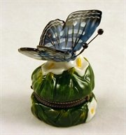 Lily Butterfly Butterflies Hinged Trinket Box