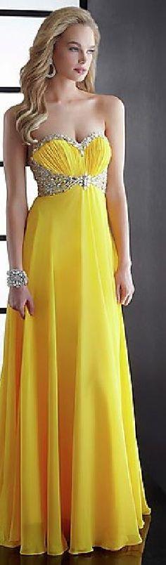 Sexy A-Line Yellow Long Chiffon Strapless Prom Dresses topgradedresses10864drt #yellowdress #promdress