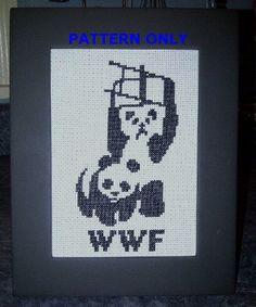 Pattern Funny Cross Stitch WWF Pandas World Wildlife by CrassCross, $5.00