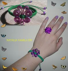 Pulsera brazalete y anillo mariposa artesanal en macrame y aluminio . Handmade wire and macrame butterfly  bracelet and ring