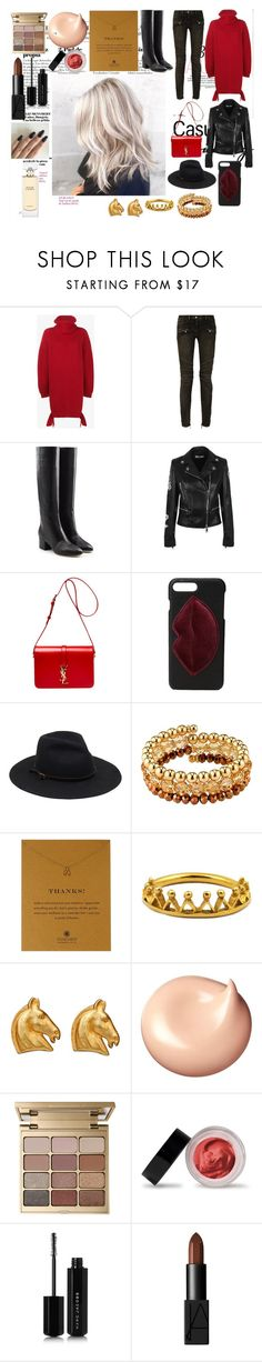 """2017."" by it-srabina ❤ liked on Polyvore featuring Balenciaga, Balmain, Sergio Rossi, Versus, Yves Saint Laurent, Kendall + Kylie, 1928, Dogeared, Annabelle Lucilla Jewellery and Hermès"