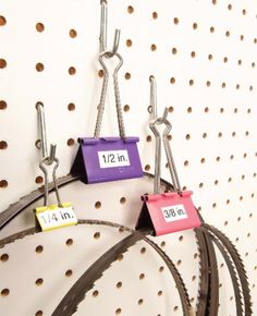 Clever Tool Storage Ideas Nest blades inside binder clips If you've ever s. Clever Tool Storage Ideas Nest blades inside binder clips If you've ever suffered the indigni Workshop Storage, Shed Storage, Craft Storage, Tool Storage, Storage Ideas, Storage Solutions, Garage Storage, Lumber Storage, Wire Storage