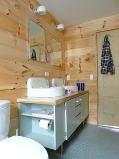 Sneak Peek: Annie & Caleb Coggan Crawford.  Gorgeous wood-planked bathroom in Belfast, Maine.
