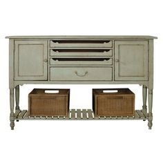 Great Rooms Farmhouse Sideboard Weathered sideboard with two doors and three pull-out shelves. Includes a removable bottle storage rack and bottom display shelf. Decor, Farmhouse Sideboard, Universal Furniture, Sideboard, Painted Furniture, Joss And Main, Furniture, Great Rooms, Jewellery Storage