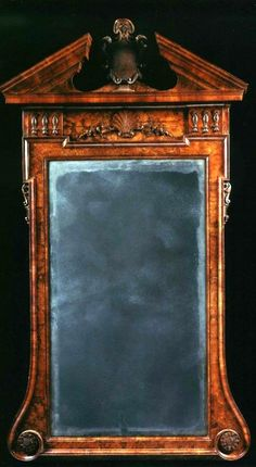 From Charlton Hobbs Antiques LLC English 1735 AN EXTREMELY RARE GEORGE II WALNUT MIRROR IN THE PALLADIAN TASTE