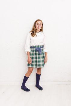 #Falda Toulousse escocés de cintura elástica entera. Confeccionada en villela con lazo en tul