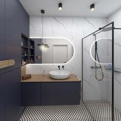 Bathroom with navy blue Bathroom Renos, Basement Bathroom, Men's Bathroom, Bathroom Ideas, Minimal Bathroom, Modern Bathroom, Navy Blue Bathrooms, Bathroom Design Luxury, Family Bathroom