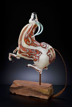 Levity, 2013 | Shelley Muzylowski Allen | Blown and Hand-Sculpted Glass, Horsehair, Stone, Steel | Photo by KP-Studios.com