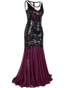 PrettyGuide Women Sequin Art Deco 1920s Flapper Long Evening Dress S Burgundy at Amazon Women's Clothing store: