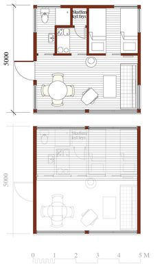 Gårdshus Bye 25 (Attefall). Plan. Coastal House Plans, Tiny House Plans, Backyard Guest Houses, Micro House, Beach Cottage Style, Compact Living, Small Space Living, Living Spaces, Cabin Plans