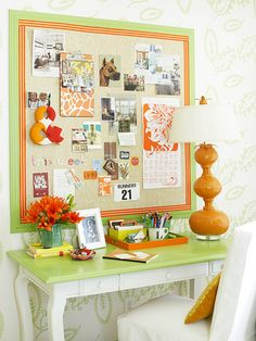 by the front door - writing desk has a simple frame that can double as dressing table when guests occupy. sm tray on desk top keeps writing utensils, note cards, stamps organized  and close by. bulletin board creates display of lists, pictures, mementos