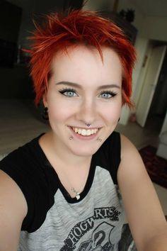 #snakebites #snakebite #piercing #facepiercing #bodymodification #art #bodyart #expression #emo #emotional #punk #punkrock #rock #redhair #red #shorthair #goth #gothic #eyebrows #fleek #septum #nosepiercing #lippiercing #lip #nose #eyeliner #black #mascara #lashes #jewelry #facejewelry #blueeyes #blue #eyes #shiny #smile #happy #hogwarts #tshirt #geek #nerd #geeky #nerdy #natural