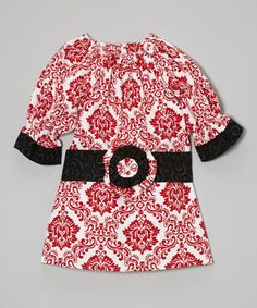 Love this Red & White Damask Dress & Black Sash - Infant, Toddler & Girls on #zulily! #zulilyfinds