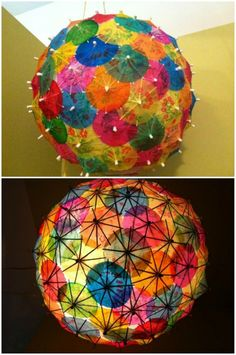 Make lampshade yourself - craft ideas from everyday objects .- Lampenschirm selber machen – Bastelideen aus Alltagsgegenständen creative craft ideas from coctail umbrellas lampshade - Home Crafts, Diy And Crafts, Crafts For Kids, Arts And Crafts, Crafts With Cds, Diy Luz, Diy Paper, Paper Crafts, Cocktail Umbrellas