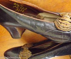 VTG/ANTIQUE EDWARDIAN SHOE/HEEL 30s Rosenthal Leather+Beaded Silk Bows/WWII/DECO