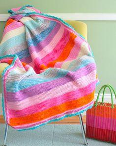 crochet / Crocheted rainbow blanket