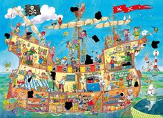 Pirates and their magic pirate ship! Pirate Preschool, Pirate Activities, Pirate Crafts, Pirate Theme, Pirate Party, Writing Pictures, School Displays, Puzzle Art, Hidden Pictures