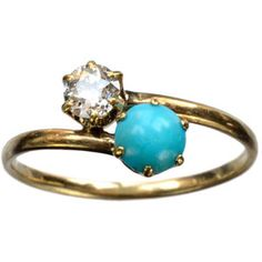 1900-10s Tiffany Turquoise and European Cut Diamond Crossover Ring, 18K Gold : Erie Basin Antiques