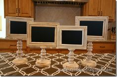 Chalkboard Pedestal Frames. So cute for a buffet, candy, dessert table! I'm sure tea party ladies can use these too!