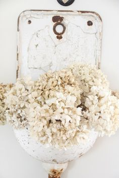 An old iron wall sink found in Belgium holds some dried hydrangeas.