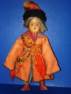 Early Russian Terracotta Head Male Doll in Original Costume from romancingthedoll on Ruby Lane
