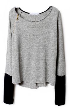 Light Grey Zippered Curved Hem Jumper $35
