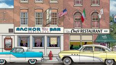 Highly detailed drawing featuring the Anchor Bar & Chef's Restaurant in Buffalo, NY by Western NY artist Michael Smith. Shop for unique artwork in a variety of subjects at MikeSmithGraphics.com.