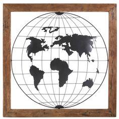 Déco murale globe mappemonde en métal noir et manguier 142x140 | Maisons du Monde