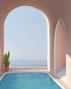 Dreamy Surreal 'Summer in Spain' Illustrations Minimalist Architecture, Interior Architecture, Interior And Exterior, Colour Architecture, Architecture Wallpaper, Aesthetic Wallpapers, Future House, Surrealism, Beautiful Places