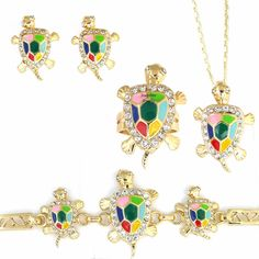 14K Gold Plated Lucky Turtle Charm Earrings Bracelet Pendant Ring Set Multi