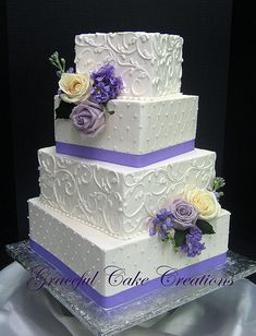 Elegant Square White Wedding Cake with Lavender Accents