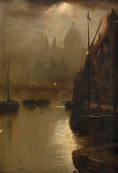 'Moonlight - London Bridge', oil paint on board by George Hyde Pownall (date unknown). #PaintedLondon