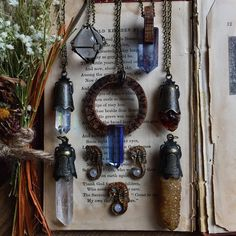 Spending the day in my studio, working on new pieces for my next etsy update. Featuring crystal ball cage necklaces, tanzanite and oak wood necklace, four antique charm crystal necklaces, center rune wheel tanzanite crystal necklace and my lovely seahorse moonstone necklaces. I've been working so hard all morning I still haven't gotten a chance to eat breakfast ! Time to finally relax for a bit. Blessed be everyone!