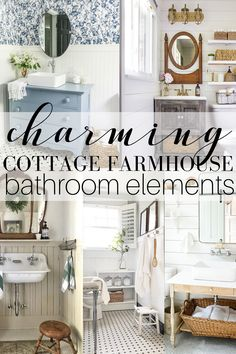 I'm sharing some charming cottage farmhouse bathroom elements with you all today as well as some plans I have for a our own guest bath! Cottage Farmhouse, Cozy Cottage, Farmhouse Style Decorating, Decorating On A Budget, Tub And Tile Paint, Cottage Style Bathrooms, Bathroom Styling, Bathroom Ideas, Bathroom Designs