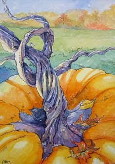 """Vintage French Soul ~ """"It is All in the Stem Storybook Cottage Series"""" - Original Fine Art for Sale - © Alida Akers Storybook Cottage, Cottage Art, Autumn Painting, Autumn Art, Halloween Painting, Halloween Art, Pumpkin Art, Watercolor Paintings, Watercolors"""