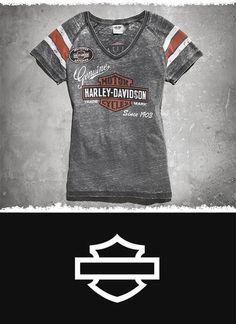 Love the worn look? Go retro. | Harley-Davidson Women's Genuine Oil Can Burnout Tee