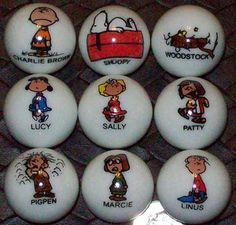 JP: Clay Marbles:  Charlie Brown, Sally, Snoopy, Pigpen, Linus, Marcie & Woodstock