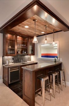 BAsement remodeling ideas. Add track lighting to illuminate the space. Unfinished basement home decor tips, basement remodeling ideas, basement decor, basement remodel
