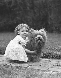 +~+~ Vintage Photograph ~+~+   Adorable girl and her pup.  1930s.
