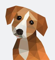 #10: Low Poly _ 2 How to make this look more realistic? Dog polygonal geometric triangulation triangulated animal