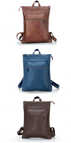 Mens Leather Backpack for Laptop / Navy Blue Backpack for men / Laptop Backpack with Zipper and Lining