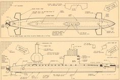 Diving Submarines. Vintage Model Boat Plans in Black and Sepia. Set of 2. Ready to Frame. (No. 415)