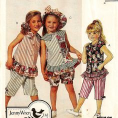 A Sleeveless Top, Pull-On Capri Pants & Bloomers, Brimmed Hat and Hair Band Pattern by So Sew Some!