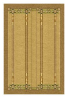 """Prairie style rug ~ The """"Demmer"""", designed by Frank Lloyd Wright collaborator George Niedecken of Milwaukee c. 1900. This design can easily be customized in size and color to create a custom rug for your home, and like all Guildcraft carpets is hand-knotted by adult artisans and certified child-labor-free by Goodweave."""