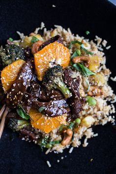 Orange Teriyaki Beef with Pineapple Edamame Fried Rice | halfbakedharvest.com @hbharvest #RecipeSerendipity #recipe #food #cooking
