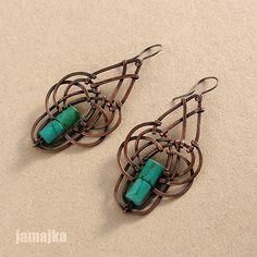 PB089406 Wire Jewelry Earrings, Copper Earrings, Metal Jewelry, Beaded Jewelry, Earrings Photo, Jewelery, Jewelry Crafts, Jewelry Art, Fashion Jewelry